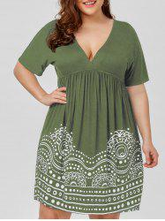 Low Cut Empire Waist Plus Size A Line Dress - Army Green - 2xl