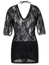 Lace Plunge Backless Babydoll Dress - Noir TAILLE MOYENNE