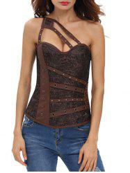 Studded One Shoulder Lace-up Corset Top - BROWN S