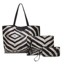 3 Pcs Zebra Striped Shoulder Bag Set - BLACK