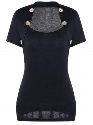 Buttons Embellished Caplet Insert Short Sleeve T-Shirt