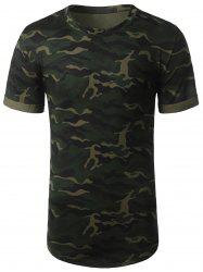 Arc Hem Crew Neck Camouflage Tee - ARMY GREEN XL