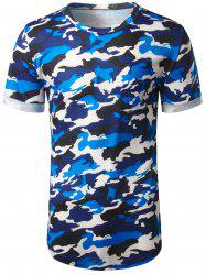 Arc Hem Crew Neck Camouflage Tee - BLUE 2XL