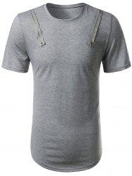 Arc Hem Zipper Embellished Tee - GRAY XL