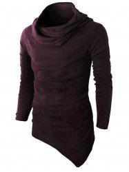 Pocket Cowl Neck Asymmetrical Sweater - WINE RED