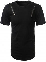 Arc Hem Zipper Embellished Tee - BLACK L