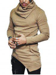 Pocket Cowl Neck Asymmetrical Sweater - KHAKI