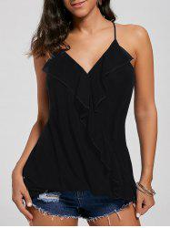 Ruffles Chiffon Wrap Top - BLACK L