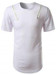 Arc Hem Zipper Embellished Tee - Blanc XL