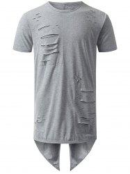 High Low Back Slit Distressed Tee - GRAY XL