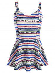 Tribal Geometric Print Peplum Tank Top -