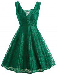 Retro Lace Fit and Flare Cocktail Dress - GREEN