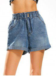 Elastic High Waist Jean Shorts - DENIM BLUE