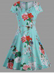 A Line Floral Plus Size Vintage Dress
