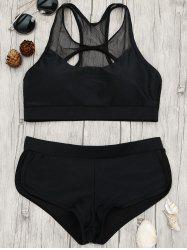 Mesh Panel Sports Racerback Bikini Set