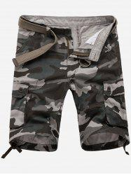 Zip Fly Flap Pockets Camouflage Cargo Shorts - GRAY 36