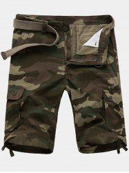 Zip Fly Flap Pockets Camouflage Cargo Shorts - ARMY GREEN 36