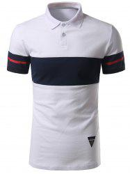 Striped Color Block Patch Polo Shirt - WHITE 2XL