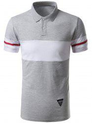 Striped Color Block Patch Polo Shirt - GRAY 2XL