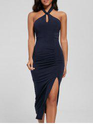 Halter Ruched Slit Bodycon Dress - DEEP BLUE