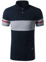 Striped Color Block Patch Polo Shirt - CADETBLUE 3XL