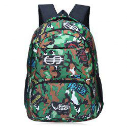 Camouflage and Patches Printed Backpack - GREEN