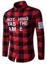 Plaid Graphic Print Long Sleeves Shirt