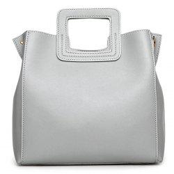 Square Handle PU Leather Tote Bag -