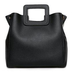 Square Handle PU Leather Tote Bag - BLACK