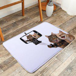 Kitty Selfie Coral Fleece Anti Slip Bathroom Rug