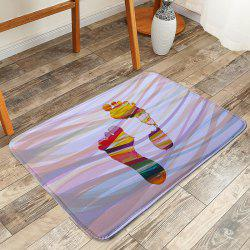 Colorful Footprint Coral Fleece Rug