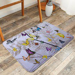 Coral Fleece Branch Butterfly Print Bath Rug