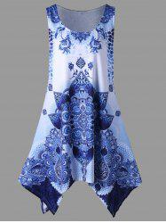 Plus Size Bandana Floral Handkerchief Dress - BLUE