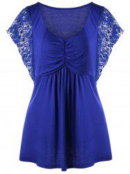 Plus Size Lace Trim Butterfly Sleeve Tee - BLUE XL