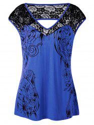 Plus Size Lace Insert Open Back Top - BLUE 3XL