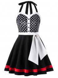 Open Back Polka Dot 1950s Swing Dress