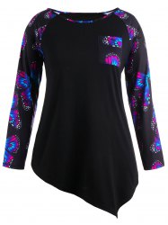 Butterfly Raglan Sleeve Plus Size Asymmetrical T-Shirt - Black - 5xl