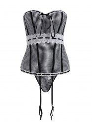 Gingham Corset Top with Garter Belt