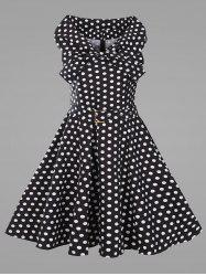 Plus Size Vintage Polka Dot Flare Dress with Belt