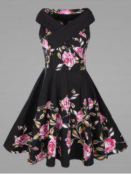 Criss Cross Plus Size Floral 1950's Pin Up Dress - Noir
