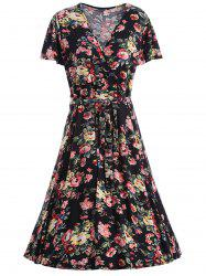 Plus Size Floral V Neck Homecoming Dress
