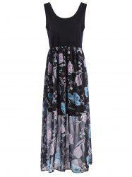 Sleeveless A Line Floral Plus Size Maxi Dress