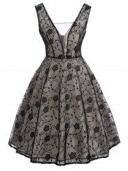 See Thru Bowknot Vintage Lace Dress