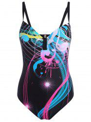 Open Back Plus Size Printed Swimsuit