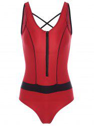 One Piece Zip Cut Out Sports Swimsuit - RED M