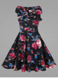 Rose Floral Plus Size Vintage Full Dress with Belt -