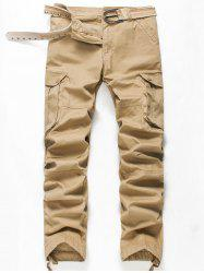 Zip Fly Pockets Straight Cargo Pants - KHAKI