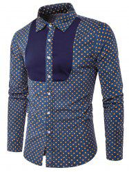Polka Dot Color Block Panel Corduroy Shirt