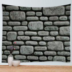 Stone Brick Wall Print Tapestry Wall Hanging Art Decoration - Deep Gray - W79 Inch * L59 Inch