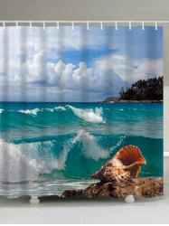 Conch Beach Print Waterproof Extra Long Shower Curtain - LAKE BLUE